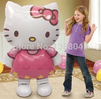 """3.8"""" Free Shipping Large Size Cartoon Hello Kitty Foil Balloons Birthday Party Decoration Standing Airwalker Kitty Cat(China (Mainland))"""