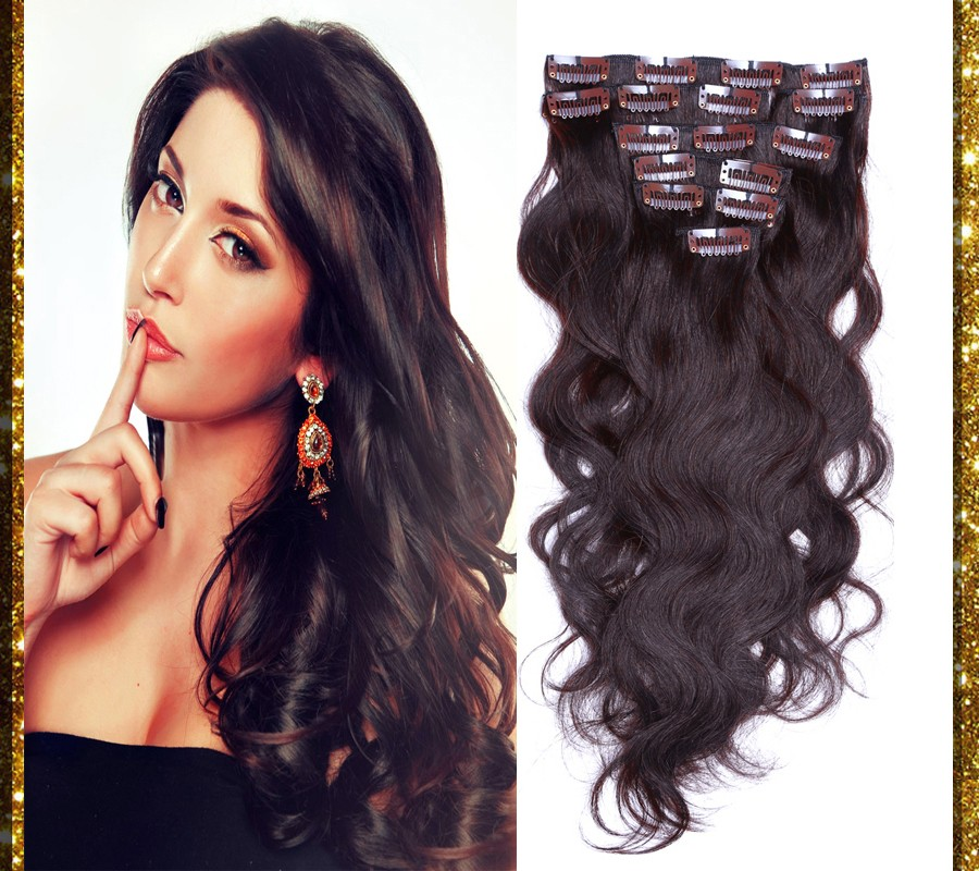 Brazilian Body Wavy Clip In Human Hair Extensions Full Head Sets Dark Brown 2# 10pc 70g-220g 16-26 inch Real Human Hair Clips On