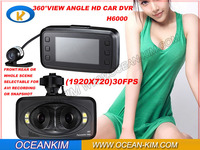 Newest H6000 CAR DVR 2.7 Lcd Support 64GB 3 Cameras 360 Degree 1280x720p HD 30 FPS 4 White Light LED With G-Sensor Free shipping