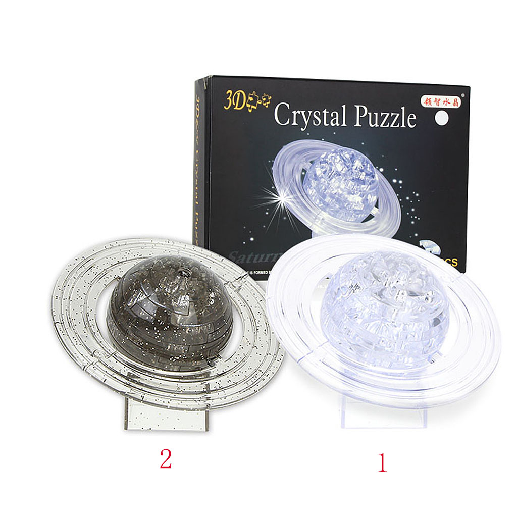 3D Crystal Puzzle Jigsaw DIY Saturn Model Office Desk Toy Transparent Children's Toy Educational Kids Toys Birthday Gift(China (Mainland))