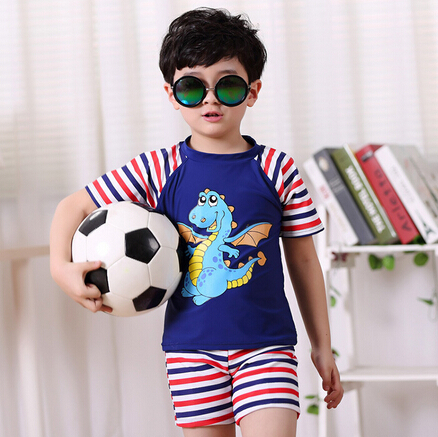 2015 Brand New Boys Surf Sport Swimwear Fashion Striped Style Children Swimsuit Sets Kid's Two Piece Swimming Suit 2 Colors(China (Mainland))