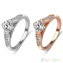 Women Bridal Wedding Engagement Zircon Gem Delicate Rose Gold Alloy Ring