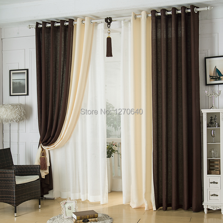 Modern linen splicing curtains dining room restaurant for Dining room drapes