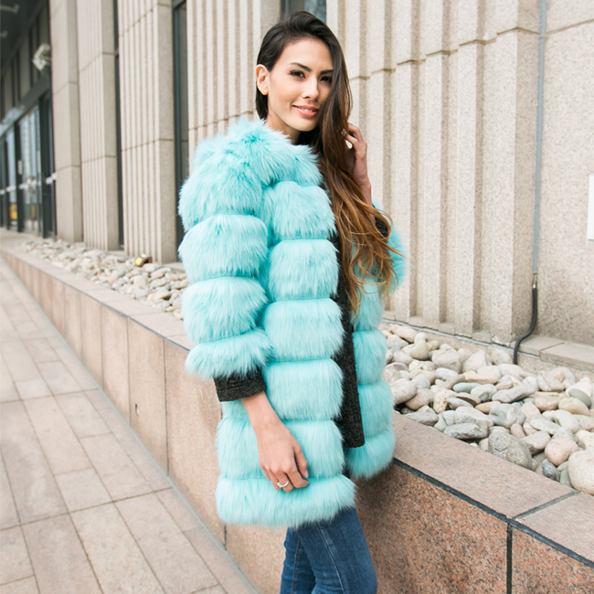 2015 New Women's Fashion Hairy Shaggy Faux Fox Fur O-Neck Long Coat Three Quarter Sleeve Outerwear Overcoat Jacket Blue - Sexy Woman Line store