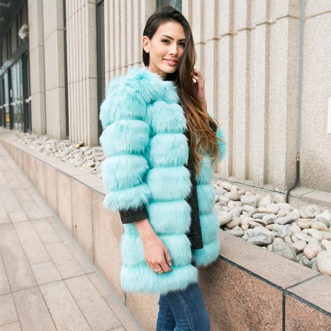 2015 New Women's Fashion Hairy Shaggy Faux Fox Fur O-Neck Long Coat Three Quarter Sleeve Outerwear Overcoat Jacket Blue - Sexy Woman Line store