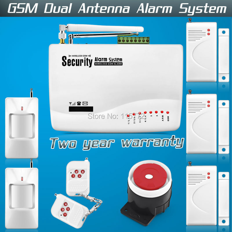 FREE SHIPPING!Dual Antenna Home Voice Security  GSM Tri-band Dual Antenna with Russian Manual Alarm system 850/900/1800/1900MHz