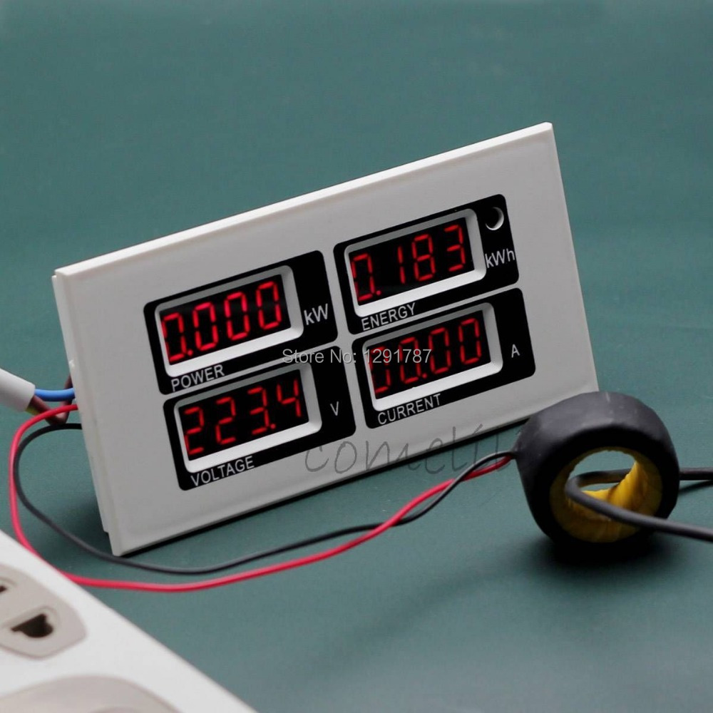 Ac Power Meter : A ac v digital led power meter monitor voltage