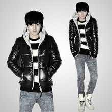 free shipping 2012 new arrival top winter clothes men's coat thin shiny wadded jacket male outerwear