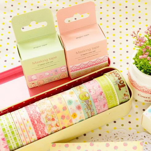 DECORA 2 ROLLS 15mmx3m Japan cartoon washi colored tape office adhesive decorative masking tape(China (Mainland))