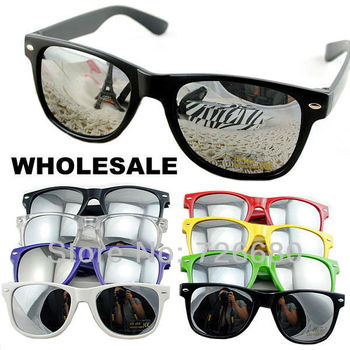 Free Shipping! Wholesale (8 pieces/lot) Mix Colors 2014 Fashion New Unisex Retro Vintage Mirror Lens sunglasses 120-0001