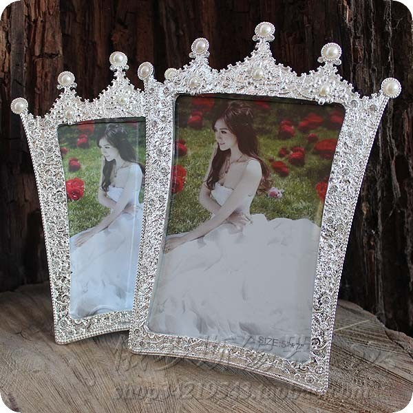7inch photo frame pearl crown glass picture frame wedding picture frame perfect gift photo frames for picture(China (Mainland))