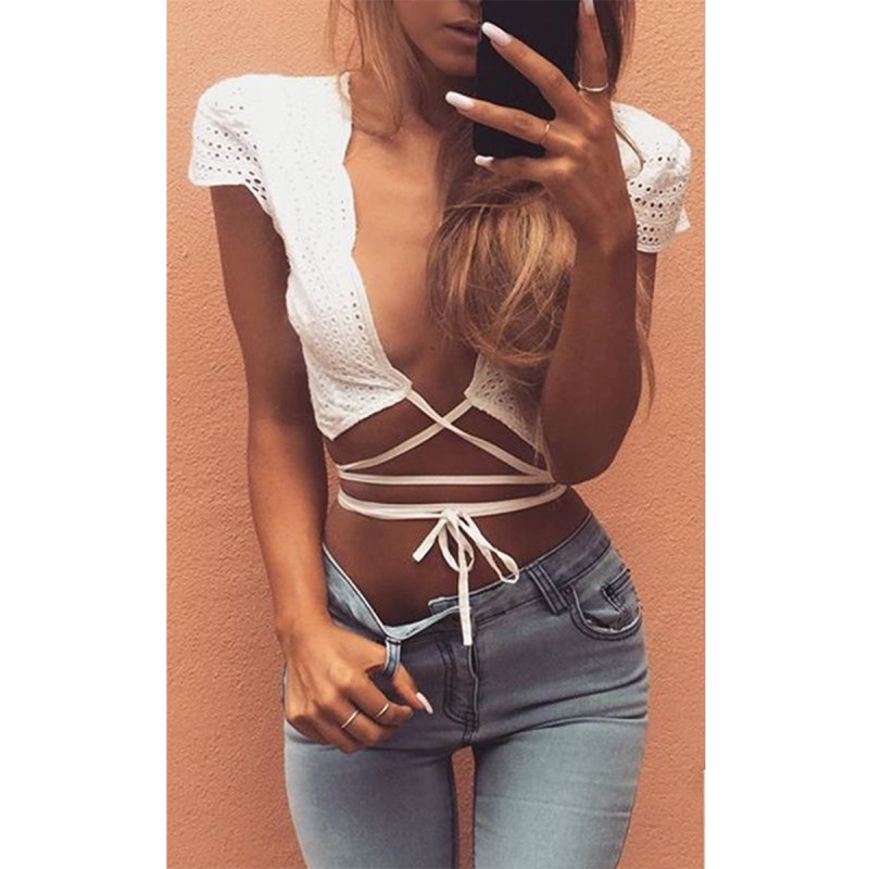New Summer Women's Lady Femininas Sexy Blouse Cap Sleeve Deep V-neck Front Bandage Lace-up Hollow Out Crop Tops Blusas(China (Mainland))