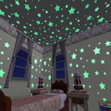 Glow pegatinas de pared 100 unids Decal bebé embroma el dormitorio decoración estrellas de colores luminosa fluorescente 3 clors(China (Mainland))