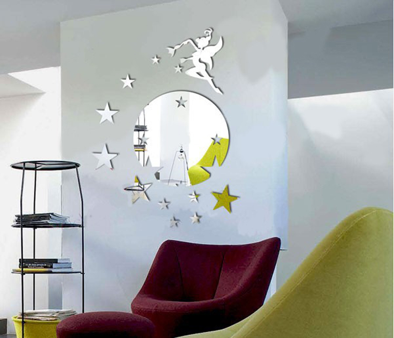 2014new creative 3D ACRYLIC material modern design wall decor fly angel 40X60 home fashion unique gift mirror sticker - YIWU E-MOON E-COMMERCE FIRM store