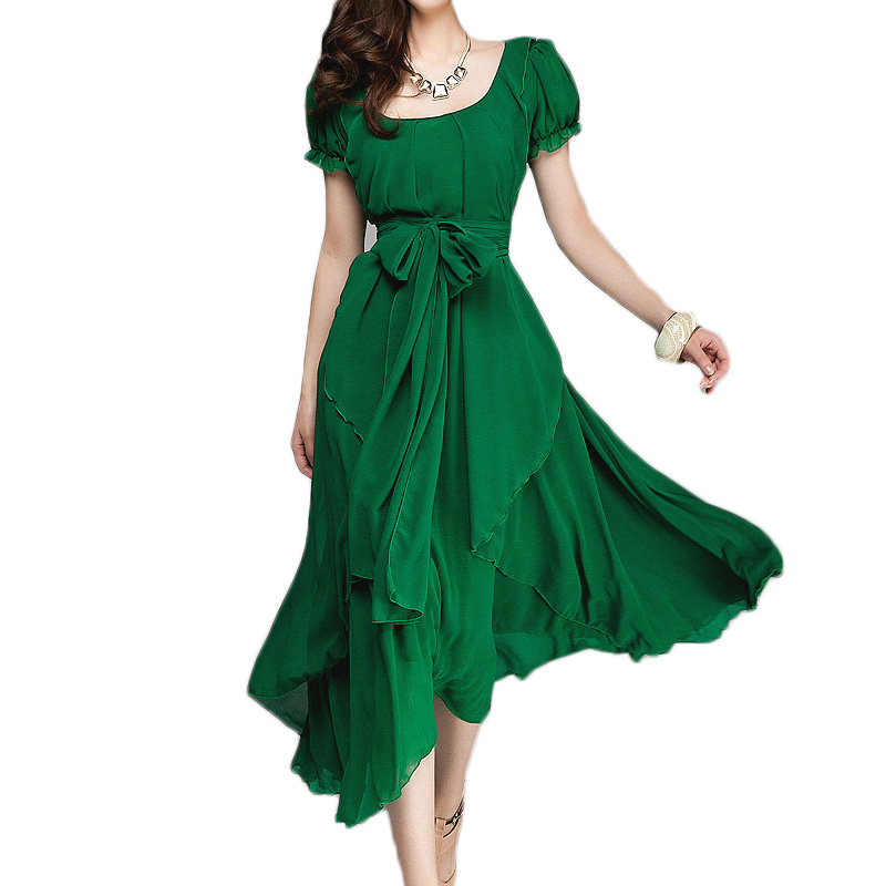 New 2014 Women Fashion Short Sleeve O-neck Chiffon Dresses Casual Long Dress Summer Dresses Vestidos With Sashes Size M-XXL