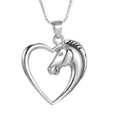 2015 Fashion New jewelry plated white K Horse in Heart Necklace Pendant Necklace for women girl mom gifts