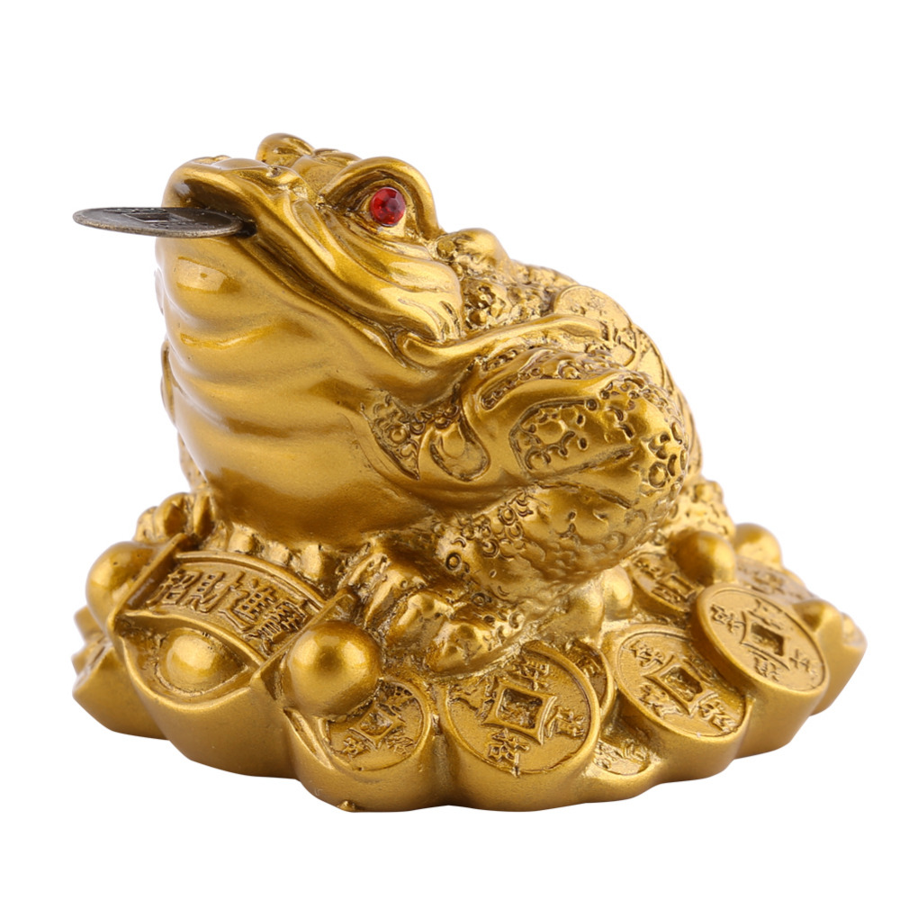 Feng Shui Money LUCKY Fortune Wealth Chinese Frog Toad Coin Home Office Decoration Tabletop Ornaments Good Lucky Gifts(China (Mainland))