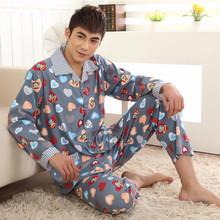 Pajama Sets For Men Spring And Autumn Mens Pyjamas Long sleeve Trousers Cardigan Sleep Plus Size 4XL(China (Mainland))