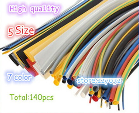 High quality 140pcs 7color Assortment 2:1 Heat Shrink Tube Tubing Sleeving Wrap Wire Cable Kit(China (Mainland))