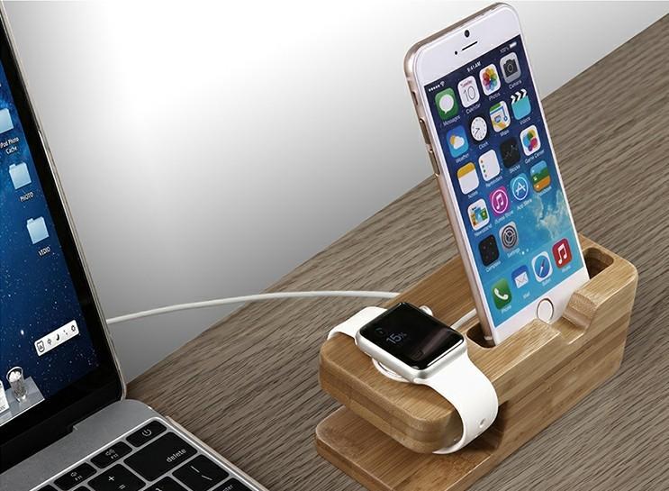 wooden iwatch charging holder