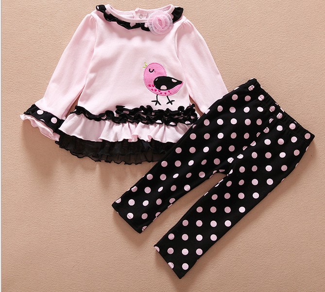 Spring Autumn Infant Clothing For 2pcs Sets %100 Pure Cotton Embroidery Bird Tshirt Pants Toddler Baby Girls Sets 0-24M Suits(China (Mainland))