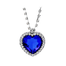 Buy Movie Jewelry Titanic Heart Ocean Pendant Necklace Blue Heart Necklace Crystal Rhinestone Luxury Necklace for $1.49 in AliExpress store