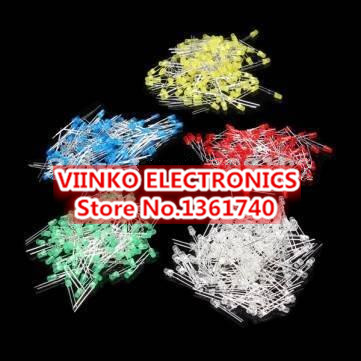 Free shipping 500Pcs/lot 3MM LED Diode Kit Mixed Color Red Green Yellow Blue White(China (Mainland))
