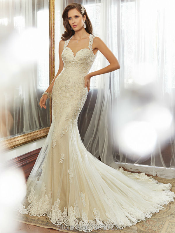 2015 Latest White/Ivory Sweetheart Applique Strapless Mermaid Beading Wedding Dress Lace Up Customer Made Chapel Train Back Open(China (Mainland))