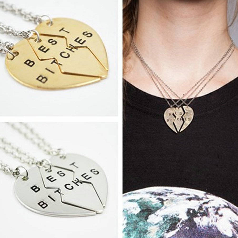 2015 Broken Heart Pendant Necklace silver gold chain necklace Statement Choker Necklace best bitches for you