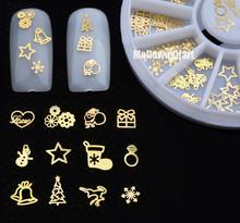 3D Золотой Металл Рождество ногтей украшения Кусочек Наклейки Наклейка Пленка колеса НОВЫЙ