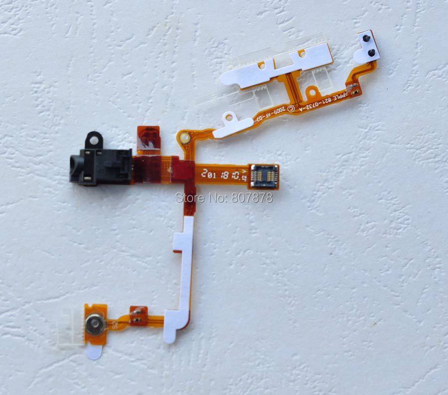10pcs/lots New Headphone Audio Jack + Power Button and Volume Flex Cable For iPhone 3G 3GS Replacement Parts + Free Shipping(China (Mainland))