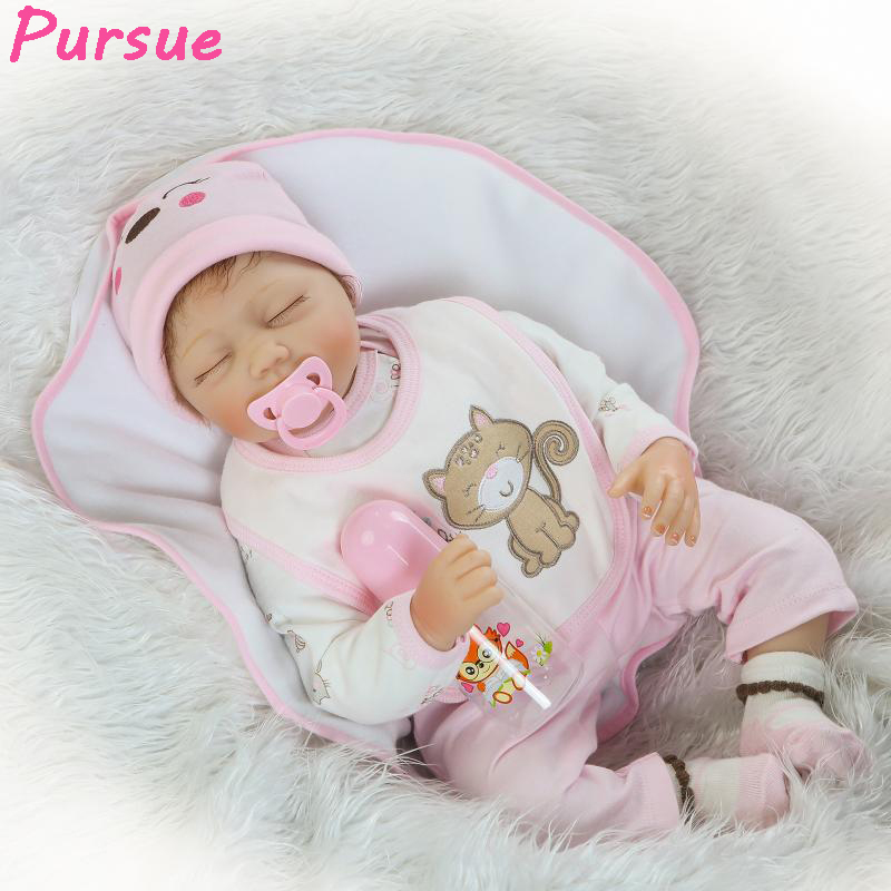 "Pursue 22""/55cm Sleep Soft Vinyl Silicone-Reborn-Babies Bebe Reborn Toddler Dolls for Sale bebe reborn menina menino(Close Eyes)(China (Mainland))"