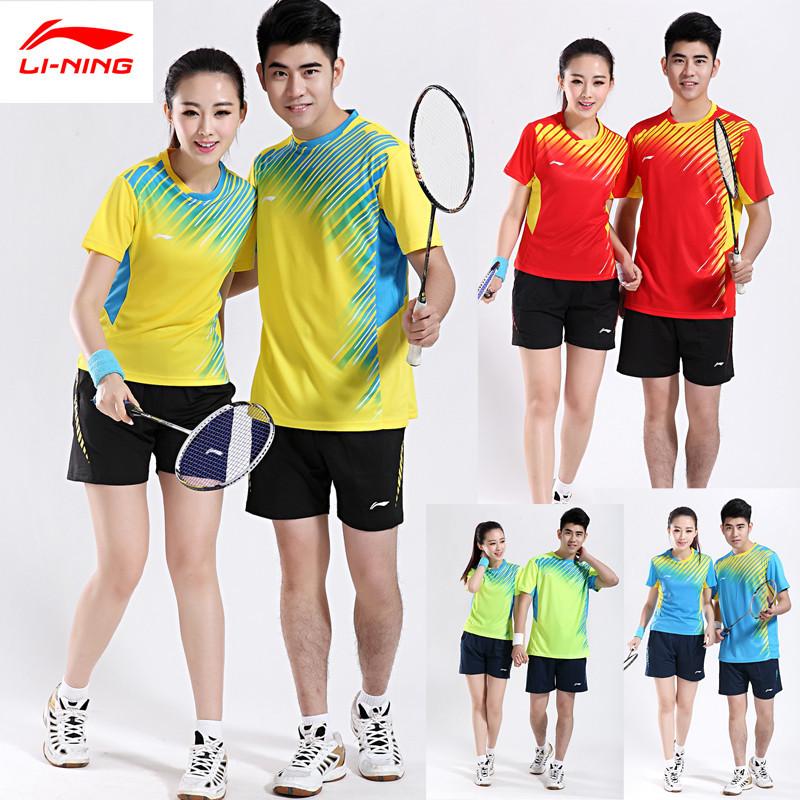 2015 Li-Ning Badminton Race Suit Set ( Tshirt + Shorts) Quick Dry Sport Plus Size Table tennis Sportswear Lining AAYJ026(China (Mainland))