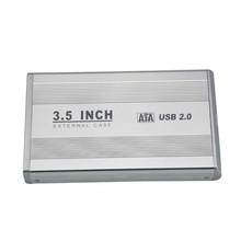 New 3.5 inch Silver USB 2.0 SATA External HDD HD Hard Drive Enclosure Case Silver(China (Mainland))
