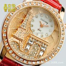 Nueva moda de lujo marca exquisitas mujeres reloj Gogoey relieve torre Eiffel Rhinestone vestido de cuarzo correa de cuero relojes reloj