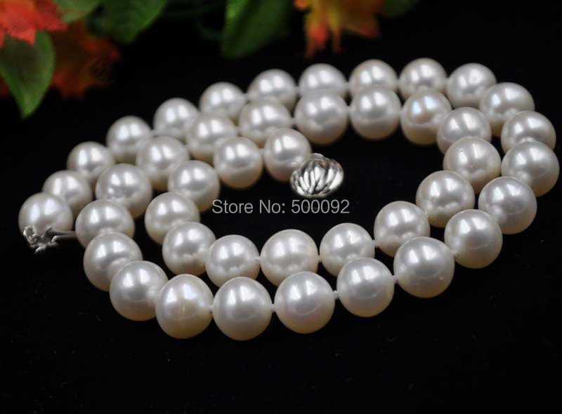 AA+ 9.5 - 10mm near round fresh water pearl necklace free shipping<br><br>Aliexpress