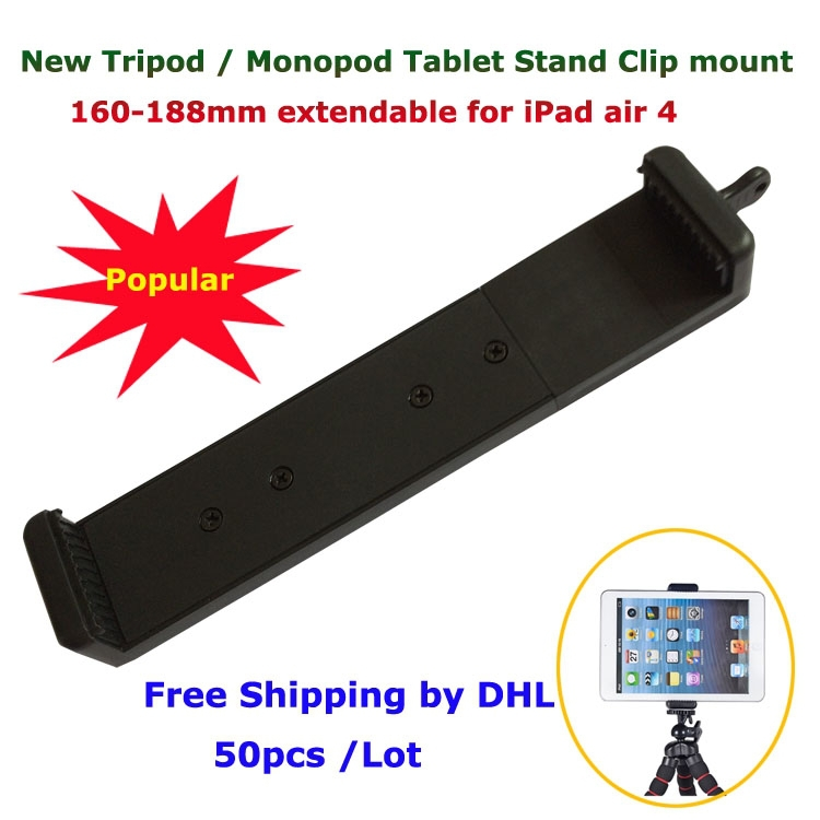 Free Shipping Wholesale 50pcs/Lot Popular Universal Tablet PC Selfie Stick Monopod Tripod Stand Holder Clip mount for iPad air 4(China (Mainland))