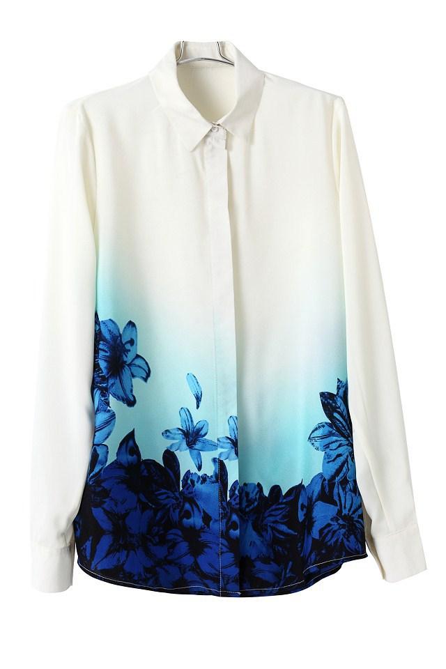 Girls Sweet Blue Floral Pattern Turn down Collar Chiffon summer Blouse Ladies Casual Shirts fashion women blouse 1BL0025