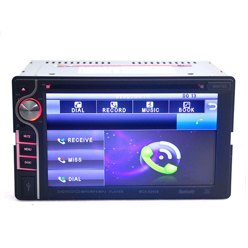 New 6.2 inch 2 DIN in Dash Car CD DVD Player Touch Screen Radio Stereo Bluetooth Free Shipping MGO3(China (Mainland))