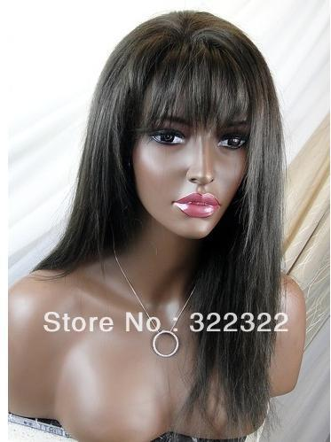 hot sale 18inch 1b# peruvian remy hair high quality front lace wig with bang(China (Mainland))