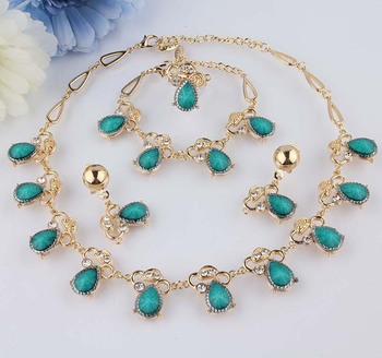 New Fashion 18k Gold Filled Turquoise Clear Austrian Crystal Necklace Bracelet Earring Ring Jewelry Set for women