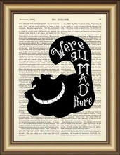Alice in Wonderland Cheshire Cat Quote Dictionary Art Print wall Poster Canvas painting Home Decor Pictures Vintage Book Print(China (Mainland))