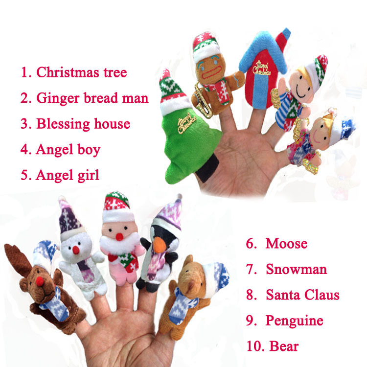 Christmas Finger Puppets Talking Props 10 Lovely animal group Educational Toys 10pcs set Professional baby&kids diy toys(China (Mainland))