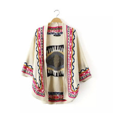 Plus Size New Autumn Winter Women's Loose Warm Cloak Knitted Embroidery Eye Vintage Sweater Cardigans(China (Mainland))