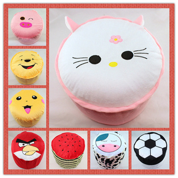 4pcs/set soft Plush Inflatable Chair Toy stuffed animals full air PVC inside stool 50 styles cartoon Size:34*41cm