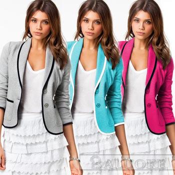 Мода блейзер feminino 2015 пиджак пиджак женщин короткий дизайн длинными рукавами пиджаки кардиган одной кнопки серый пальто Большой размер XXL