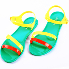 Free Shipping Candy Color Multicolour  Block Decoration Strap Open Toe Jelly Shoes women Sandals Flat Rain sandals Flip Flops(China (Mainland))