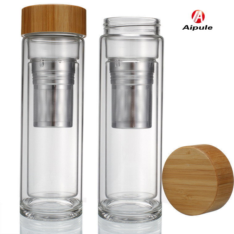 350ml Double Wall Glass Tea Filter Glass Bottle With Screw