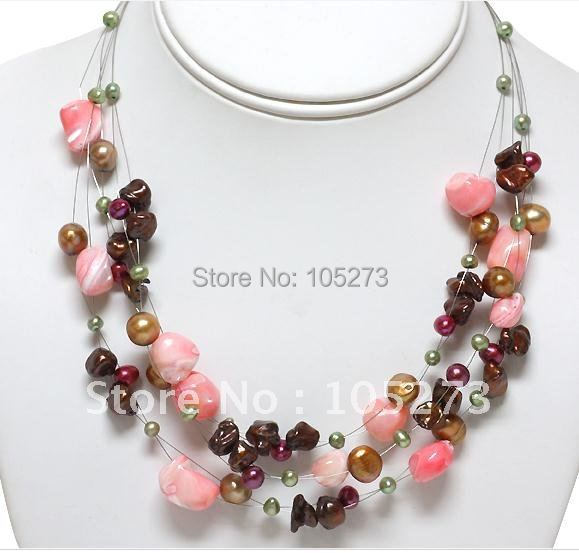 Здесь можно купить  18inch 3-offer Multi-Color Genuine Freshwater Pearl Necklace Fashion Pearl Jewelry Wholesale New Free Shipping  Ювелирные изделия и часы