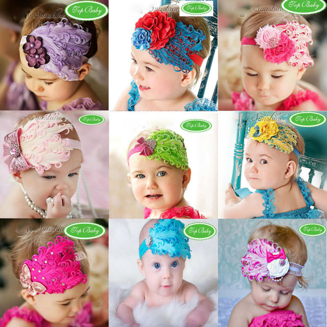 New design Feather  rhinestone headband Baby Headbands Photo Prop Headband Baby Bows Feather hair band +Free shipping